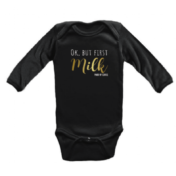 Body Infantil M/c Ok, But First Milk Preto